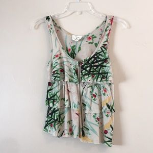 Pins & Needles Layers Floral Front Zip Tank Top